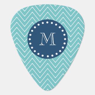 Marine-Blau, aquamarines Zickzack Muster   Ihr Plektrum