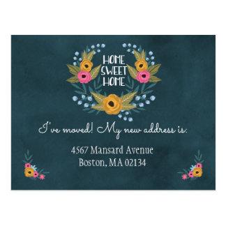Marine-Blau-Blumenadressenänderung Postkarte