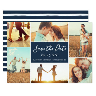 Marine-Blau der Foto-Collagen-Save the Date Karte