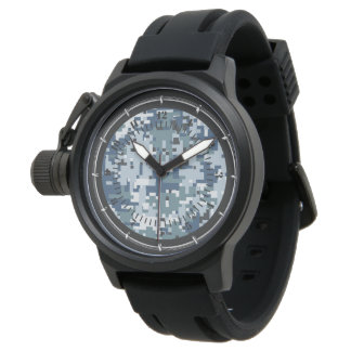 Marine-Blau-Digital-Tarnungs-Uhr-Dekor Armbanduhr