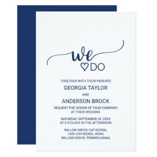 """Marine-Blau-einfache Kalligraphie """"wir tun"""" 12,7 X 17,8 Cm Einladungskarte"""