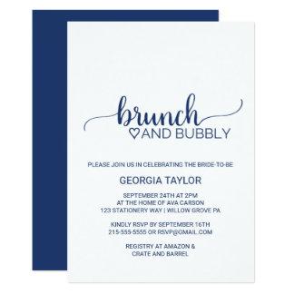 Marine-Blau-einfacher Kalligraphie-Brunch und 12,7 X 17,8 Cm Einladungskarte