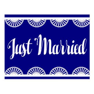 Marine-Blau-gerade verheiratete Postkarte