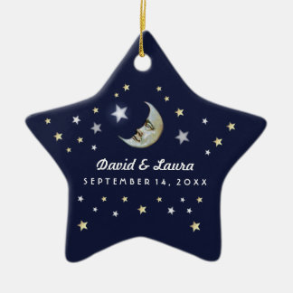 Marine-Blau-Gold u. weißer Mond u. Sterne, die Keramik Ornament