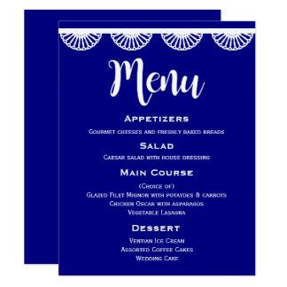 Marine-Blau-Hochzeits-Menü-Vintage weiße Spitze Karte