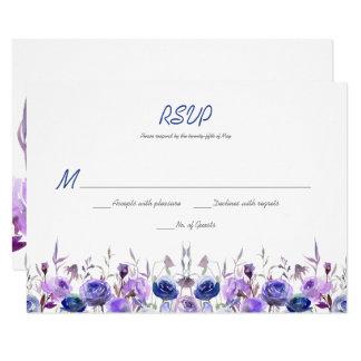 Marine-Blau-lila Lavendelwatercolor-Rosen UAWG 8,9 X 12,7 Cm Einladungskarte