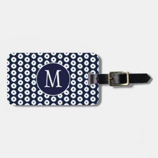 Marine-Blau mit weißen Punkten und Monogramm Gepäckanhänger