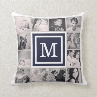 Marine-Blau-Monogramm Instagram Foto-Collage Kissen