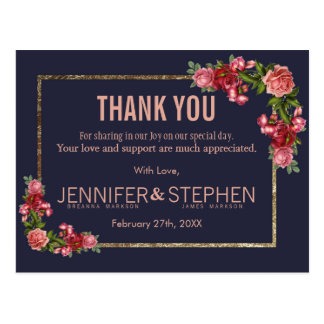 Marine-Blau-Rosa-Blumengold danken Ihnen Postkarte
