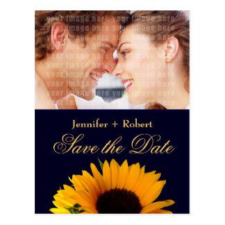Marine-Blau-Save the Date Sonnenblume-Postkarte Postkarte