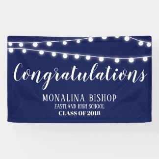 Marine-Blau-Schnur des Licht-Glückwunsch-Absolvent Banner