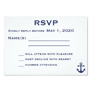 Marine-Blau-Seehochzeit UAWG Karte mit Anker 8,9 X 12,7 Cm Einladungskarte