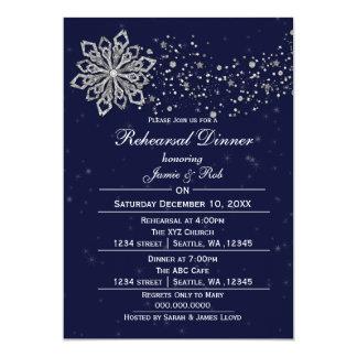 Marine-Blau-Silber-Winter-Proben-Abendessen laden 12,7 X 17,8 Cm Einladungskarte
