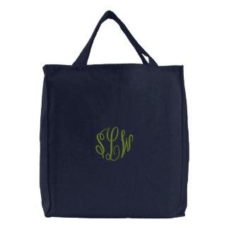 Marine-Blau-Taschen-Tasche mit gesticktem Bestickte Tragetasche