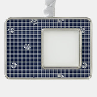 Marine-Blau-Tatzen-karierte Druck-Verzierung Rahmen-Ornament Silber
