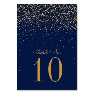 Marine-Blau u. bezaubernde Goldconfetti-Hochzeit Karte