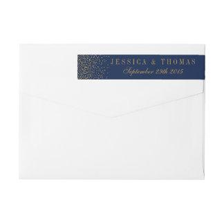 Marine-Blau u. bezaubernde Goldconfetti-Hochzeit Rundum-Adressaufkleber Für Rückversand