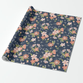 Marine-Blau u. errötet Blumen- u. Geschenkpapier