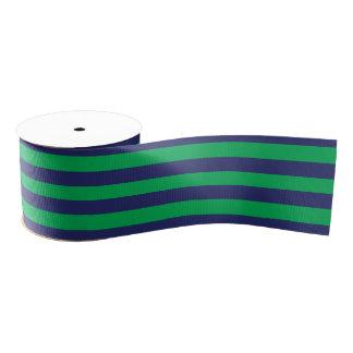 Marine-Blau u. grünes gestreiftes | irgendeine Ripsband