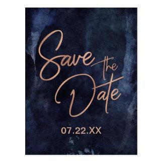 Marine-Blau-u. Rosen-Gold, das Save the Date Postkarte