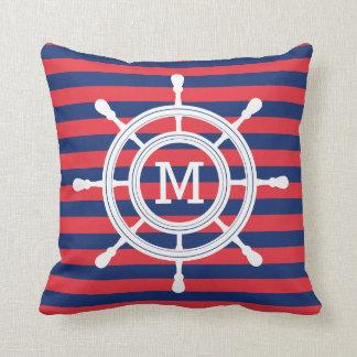 Marine-Blau-u. Rot-Streifen-Steuer-Monogramm Kissen