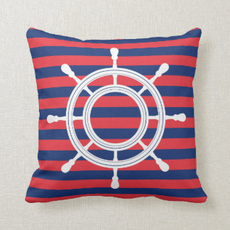 Marine-Blau-u. Rot-Streifen - weißes Steuer Kissen