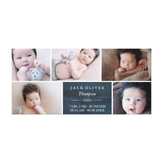 Marine-Blau-u. Weiß-Foto-Collagen-Baby Leinwanddruck