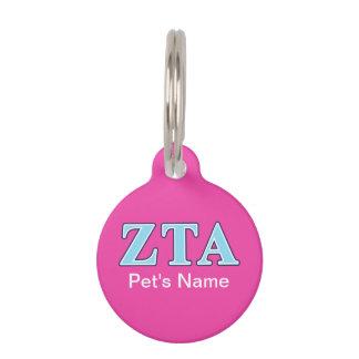 Marine-Blau-und Baby-Blau-Buchstaben ZetaTau Alpha Haustiermarke