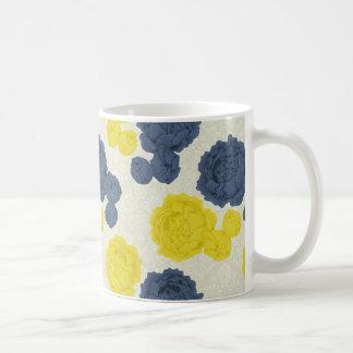 Marine-Blau und gelbe Vintage BlumenTasse Tasse