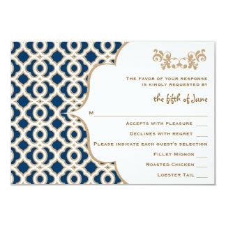 Marine-Blau und Goldmarokkanische 8,9 X 12,7 Cm Einladungskarte