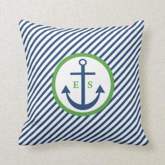 Marine-Blau-und Grün-Anker-Monogramm-Kissen Kissen