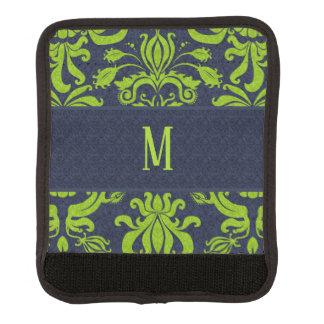 Marine-Blau-und Jade-Grün-Retro Muster mit Gepäckgriff Marker