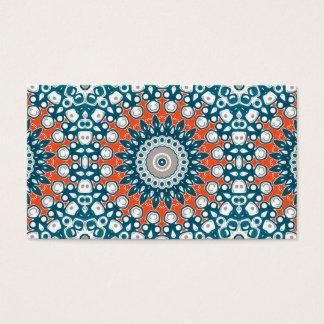 Marine-Blau und Orange auf weißer Medaillon-Kunst Visitenkarte