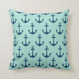 Marine-Blau und Seafoam grünes Anker-Muster Kissen