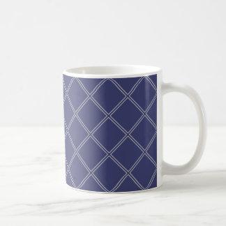 Marine-Blau und silbernes geometrisches Tasse