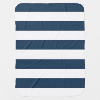 Marine-Blau-und weißemutige Streifen-Baby-Decke Kinderwagendecke