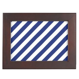 Marine-Blau-und weißesdiagonales Streifen-Muster Erinnerungsdose
