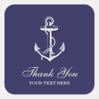 Marine-Blau-Vintager Anker danken Ihnen zu Quadrat-Aufkleber