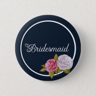 Marine-Blau-weiße rosa Vintage Blumenbrautjungfer Runder Button 5,1 Cm