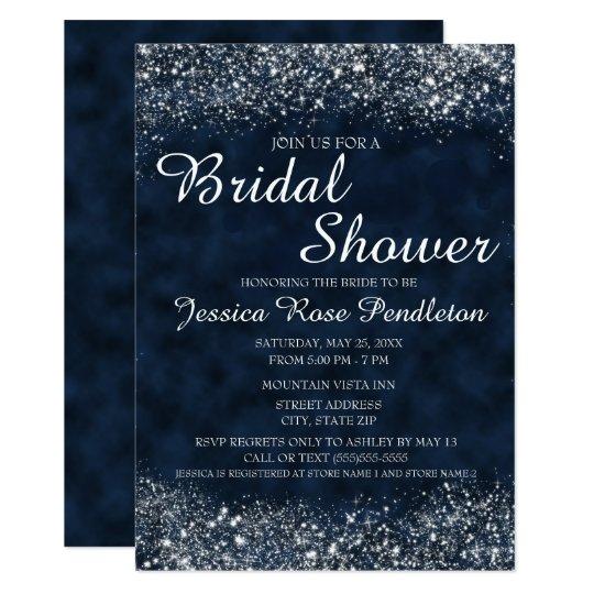 Marine-Blau weiße Stardust Brautparty-Einladung 11,4 X 15,9 Cm Einladungskarte