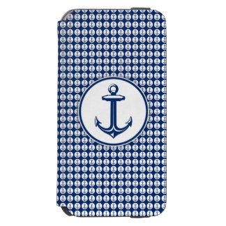 Marine-Blau-weißer Anker auf Anker-Muster Incipio Watson™ iPhone 6 Geldbörsen Hülle