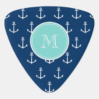 Marine-Blau-weißes Anker-Muster, tadelloses grünes Plektrum