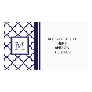 Marine-Blau, weißes Quatrefoil   Ihr Monogramm Visitenkarten