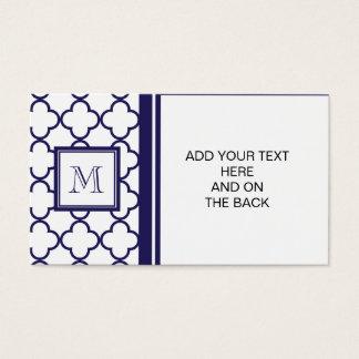 Marine-Blau, weißes Quatrefoil | Ihr Monogramm Visitenkarten