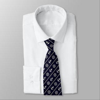 Marine-Blau-weißes Schiffs-Rad-Seeanker-Seemann Krawatte