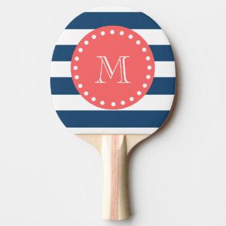 Marine-Blau-weißes Streifen-Muster, korallenrotes Tischtennis Schläger