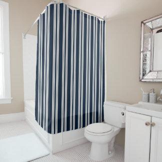 Marine-Blau-weißes und silbernes Grau-vertikale Duschvorhang