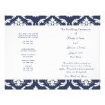 Marine-Blau-weißes Vintages Damast-Hochzeits-Progr Flyer Druck