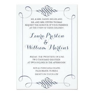 Marine-Blau-Wirbel, der Einladung Wedding ist