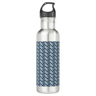 Marine-Blau-Zickzack Muster Edelstahlflasche